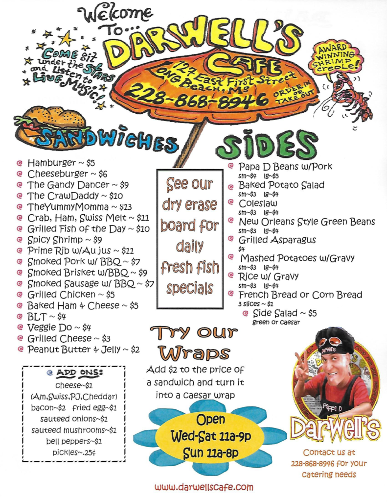 Darwell's Cafe Long Beach Mississippi Menu2